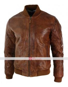 Fit Tan Brown Vintage Washed Bomber Pilot Jacket