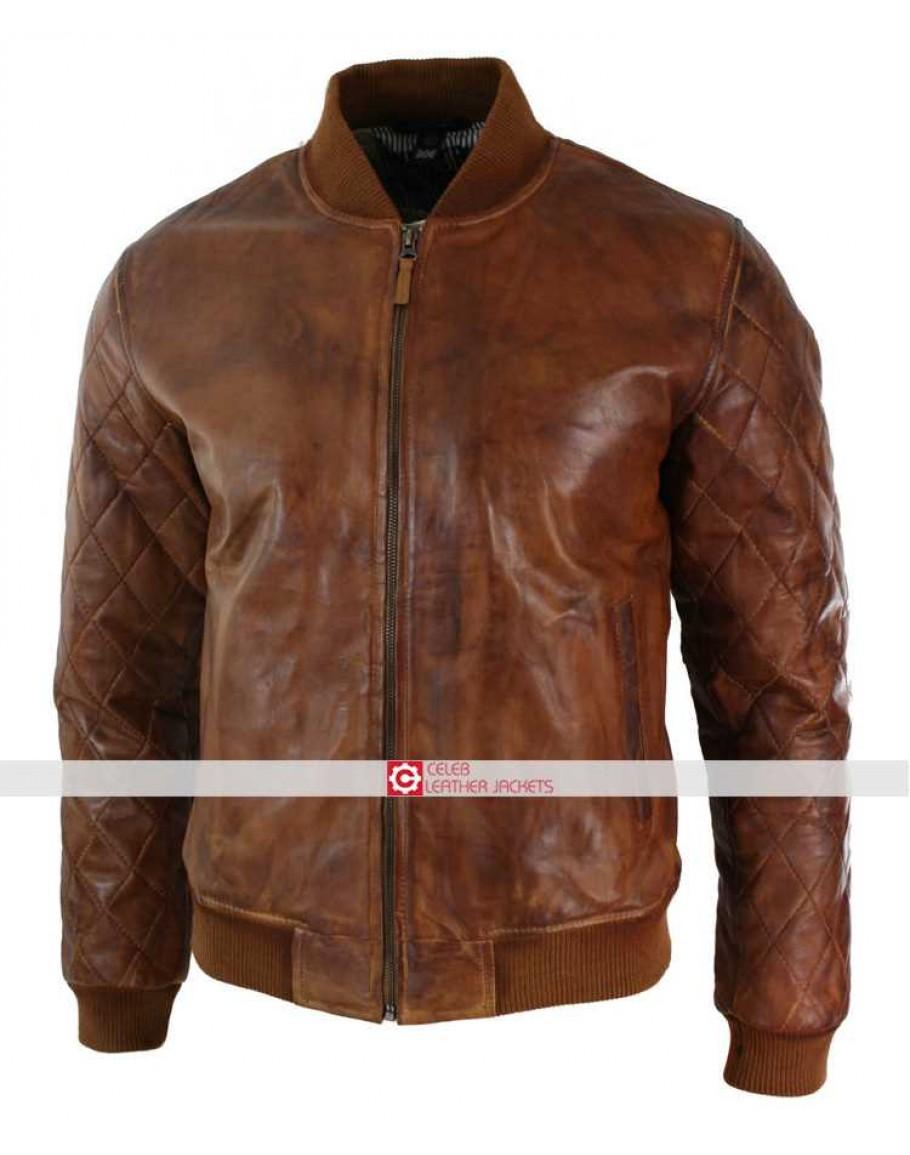2c4883cb7 Fit Tan Brown Vintage Washed Bomber Pilot Jacket