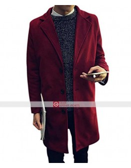 Slim Fit Men Long Breasted Button Wine Coat