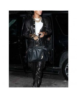 Button Style Rihanna Black Quilted Leather Jacket