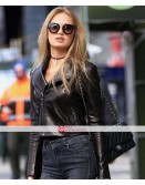 Romee Strijd Black Biker Leather Jacket