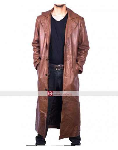 Slim fit Light Brown Trench Leather Coat