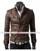 Slim Fit Rocker Light Brown Bomber Leather Jacket
