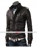 Slim Fit Rocker Bomber Black Leather Jacket