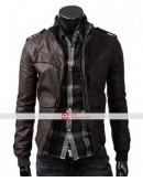 Slim fit Rocker Brown Bomber Leather Jacket