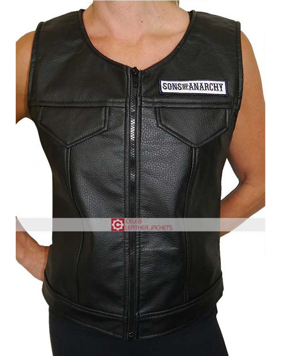 afed9f8b1 Sons Of Anarchy Women Leather Vest   SOA Ladies Vest