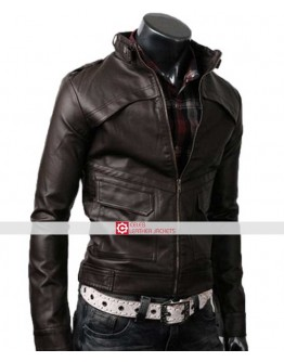 Slim Fit Strap Dark Brown Leather Jacket