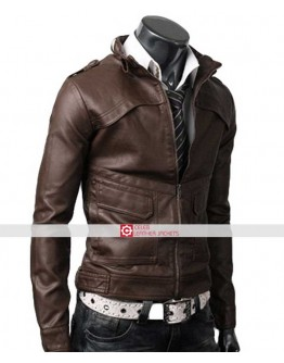Slim Fit Strap Light Brown Jacket For Men