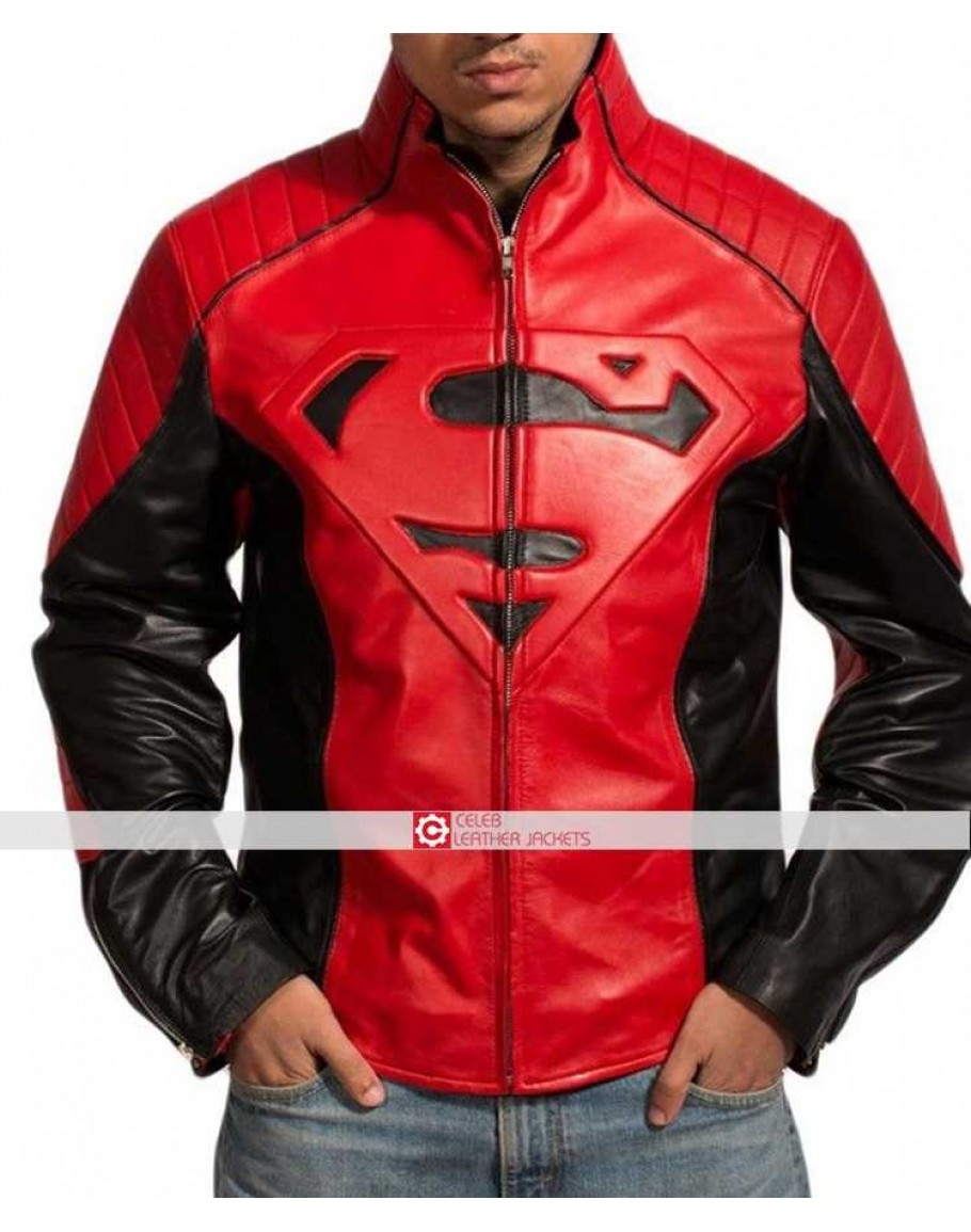 Smallville Man of Steel Clark Kent Superman Black Leather Motorcycle Men Jacket
