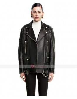 Taylor Hill Acne Studios Black Biker Leather Jacket