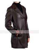 Three Button Women Brown Blazer Leather Jacket