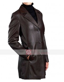 Three Button Women Brown Blazer Leather Jacket