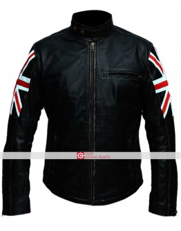 UK Flag Mens Biker Vintage Distressed Jacket