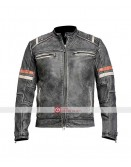 Vintage Black Classic Biker Distressed Retro Jacket