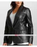 Women One Button Black Leather Blazer Jacket