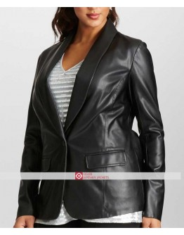 Women One Button Black Leather Blazer Jacket
