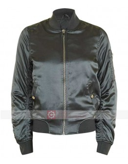 Women Satin Topshop Bomber Green Jacket