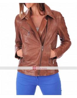 Women Slim Fit Brown Leather Motorcycle Jacket