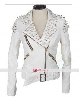 Women Studded Spike White Biker Leather Jacket