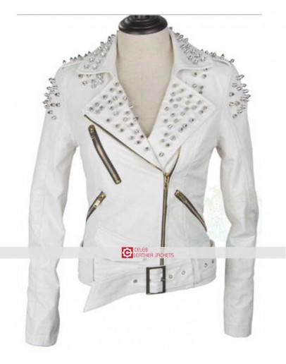 Women Studded Spike White Biker Leather Jacket