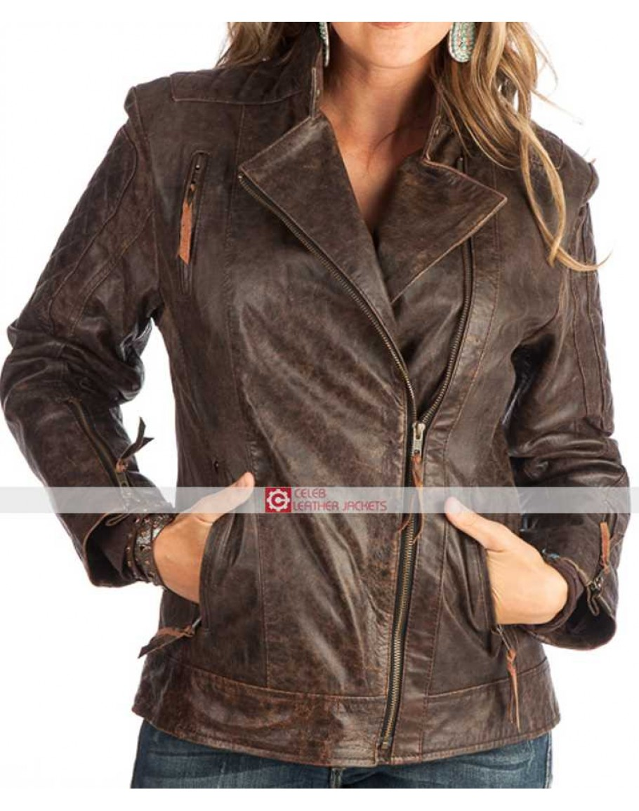 4790ee6cf Womens STS Ranchwear Brown Lucy Distressed Leather Jacket