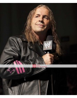 WWE Bret Hart Hitman Black Leather Jacket