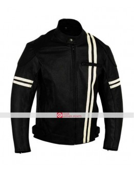 X-men Motorbike White Stripes Black Jacket